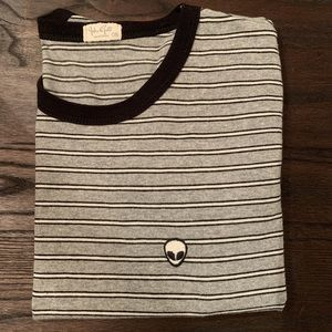 John Galt by Brandy Melville Striped Alien Tee